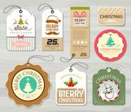 För etikettpapper för glad jul färgrika samlingar royaltyfri illustrationer