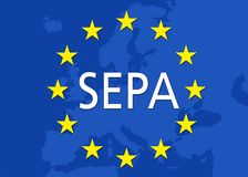 För eurobetalningar för illustration SEPA enkelt område vektor illustrationer