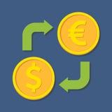 för euroutbyte för härlig valuta 3d dimensionellt diagram illustration tre mycket Dollar och euro Arkivbild