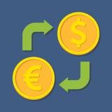 för euroutbyte för härlig valuta 3d dimensionellt diagram illustration tre mycket Euro och dollar Royaltyfri Foto