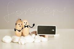 För evigtförälskelseidé Två jordnötter med utdragna framsidor som kramar på rosa vaniljbakgrund Royaltyfria Foton