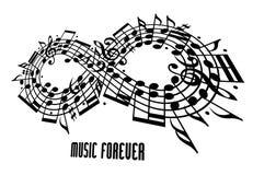 För evigtmusikbegreppet, oändlighetssymbol gjorde med musikaliska anmärkningar a Royaltyfri Fotografi