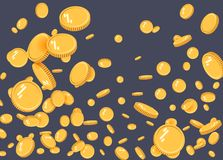 För explosionlägenhet för guld- mynt vektor Modell för guld- mynt med effekten som svävar i luften i en tecknad filmstil för form stock illustrationer