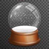 För exponeringsglasboll för snö fallande illustration för vektor för mall för bakgrund för ställning 3d för viktig trärealistisk  stock illustrationer