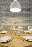 för exponeringsglaslokal för tätt bestick äta middag rund tabell upp Royaltyfria Foton