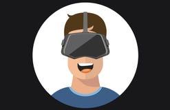 För exponeringsglasman för virtuell verklighet VR symboler för lägenhet Arkivbild