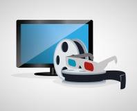 för exponeringsglasrulle för bio 3d plasma för tv för film Arkivbild