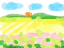 För fältlandskap för vattenfärg lantlig bakgrund Fotografering för Bildbyråer
