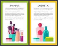 För färgaffischer för makeup kosmetisk illustration för vektor stock illustrationer