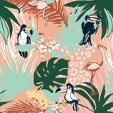 För färgbakgrund för tropisk blom- sommar sömlösa palmblad för modell, fåglar Fotografering för Bildbyråer