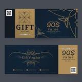 För färgdesign för presentkort första guld- begrepp för gåvakupongen, inbjudan, certifikat, reklamblad, baner, biljett Fotografering för Bildbyråer