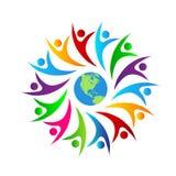 För färgfolk för folk mång- diskussion för symbol för cirkel tillsammans facklig, folk för arbete för logo för affärsfolk med jor vektor illustrationer