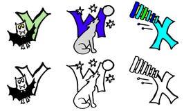 För färgläggningbok för del 8 v w x bokstäver med bilder i tyskt och engelskt royaltyfri illustrationer