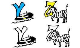 För färgläggningbok för del 9 y z bokstäver med bilder i tyskt och engelskt stock illustrationer