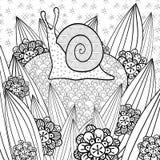 För färgläggningbok för gullig snigel vuxen sida Arkivfoton