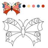för färgläggningdiagram för bok färgrik illustration färgläggningfjäril för ungar i a Royaltyfri Bild