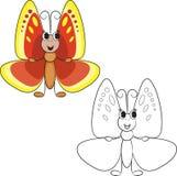 för färgläggningdiagram för bok färgrik illustration gullig fjärilstecknad film Royaltyfria Bilder