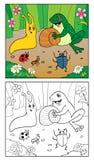 för färgläggningdiagram för bok färgrik illustration Illustration av snigeln, kryp och grodan Royaltyfri Foto