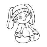 för färgläggningdiagram för bok färgrik illustration Liten flicka i en kanindräkt stock illustrationer