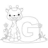 för färgläggningG för alfabet djur sida Arkivfoton