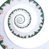 För färgprydnad för grön guld vit bakgrund för modell för fractal för abstrakt begrepp för effekt för spiral för maträtt Vit frac Arkivfoton