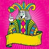 för färgrik leka stil illustrationjoker för kort Royaltyfri Foto