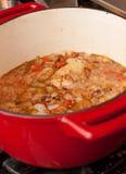 för färgrik röd stew järnkruka för cast royaltyfria foton