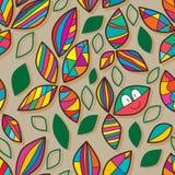 För färgrik sömlös modell gruppgräsplan för blad Arkivbild