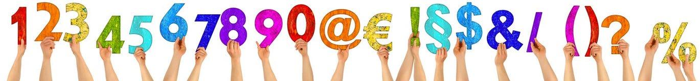 För färgrikt träspecialt tecken bokstavsnummer för händer - fastställd collec Arkivbild