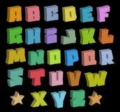 för färgstilsorter för grafitti 3D blocky alfabet över svart Royaltyfri Bild
