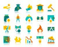 För färgsymboler för konkurs enkel plan uppsättning för vektor royaltyfri illustrationer