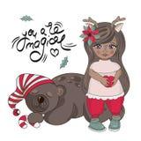 För färgvektor för glad jul BJÖRN för FLICKA för uppsättning för illustration royaltyfri illustrationer