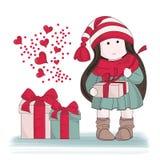 För färgvektor för glad jul GÅVA för uppsättning för illustration FRÅN HJÄRTA stock illustrationer