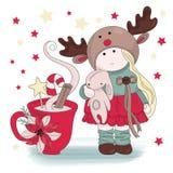 För färgvektor för glad jul LYCKÖNSKAN för FLICKA för uppsättning för illustration royaltyfri illustrationer