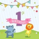 För födelsedagberöm för ungar 1st design för kort för inbjudan royaltyfri illustrationer
