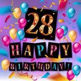 för födelsedagberöm för th 28 kort för hälsning Royaltyfri Foto