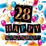 för födelsedagberöm för th 28 kort för hälsning Royaltyfria Foton