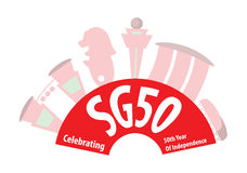 För födelsedaggränsmärken för SG50 Singapore 50th illustration Royaltyfria Bilder