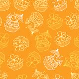 För födelsedagparti för vektor bakgrund för modell för gula tropiska muffin sömlös Göra perfekt för tyg och att scrapbooking, tap stock illustrationer