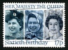 För födelsedagUK för drottning Elizabeth II 60th stämpel för porto Royaltyfria Bilder