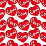 För förälskelsehjärtor för valentin sömlös modell för röd vektor Royaltyfri Foto