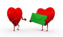 för förälskelsekamratskap för hjärta 3d illustration Arkivbilder
