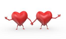 för förälskelsekamratskap för hjärta 3d illustration Arkivfoto
