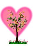 för förälskelsetree för begrepp hjärta isolerad white Arkivbild