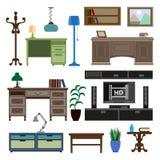 För för möblemangstycken och tillbehör för hem- rum och arbetsplatsvektorn sänker symboler royaltyfri illustrationer