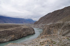 För föreningspunktsikt för tre berg punkt av nordliga Pakistan Arkivfoton