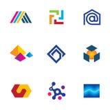 För företagsapp för ny teknik uppsättning för symbol för nätverk för innovativ logo framtida Arkivbilder