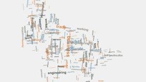För företagsord för affärsidé företags diagram för typografi för moln stock video