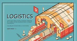 För företagsvektor för industriell logistik website vektor illustrationer
