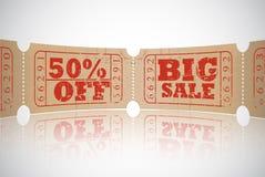 För försäljningsbiljett för tappning pappers- design Royaltyfri Fotografi